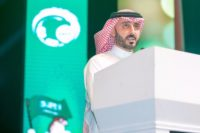 Quassay Alfawaz presenting a speech to the Saudi Arabian Football Federation