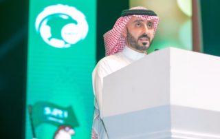 Quassay Alfawaz presenting a speech to the Saudi Arabian Football Federation